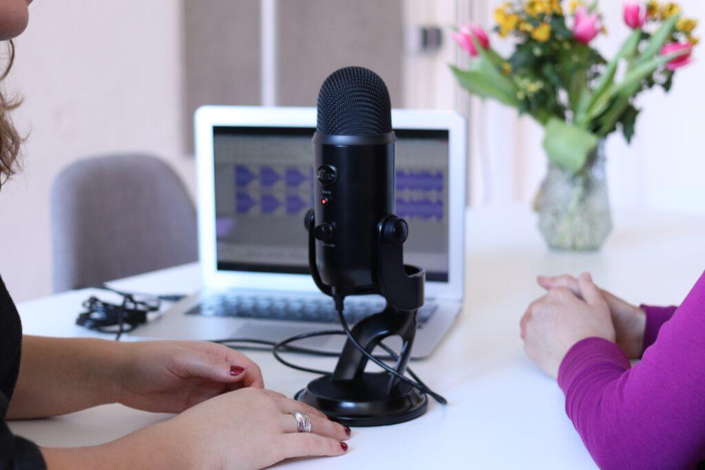lles Mikrophon in der Mitte, ein Laptop und ein Blumenstrauß sind im Hintergrund zu sehen. An den Bildrändern links und rechts sind nur die Arme zweier Frauen zu sehen, die Hände sind auf dem Tisch.